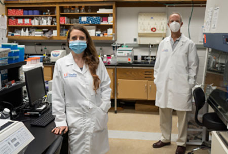 Leah Reznikov and colleague in lab